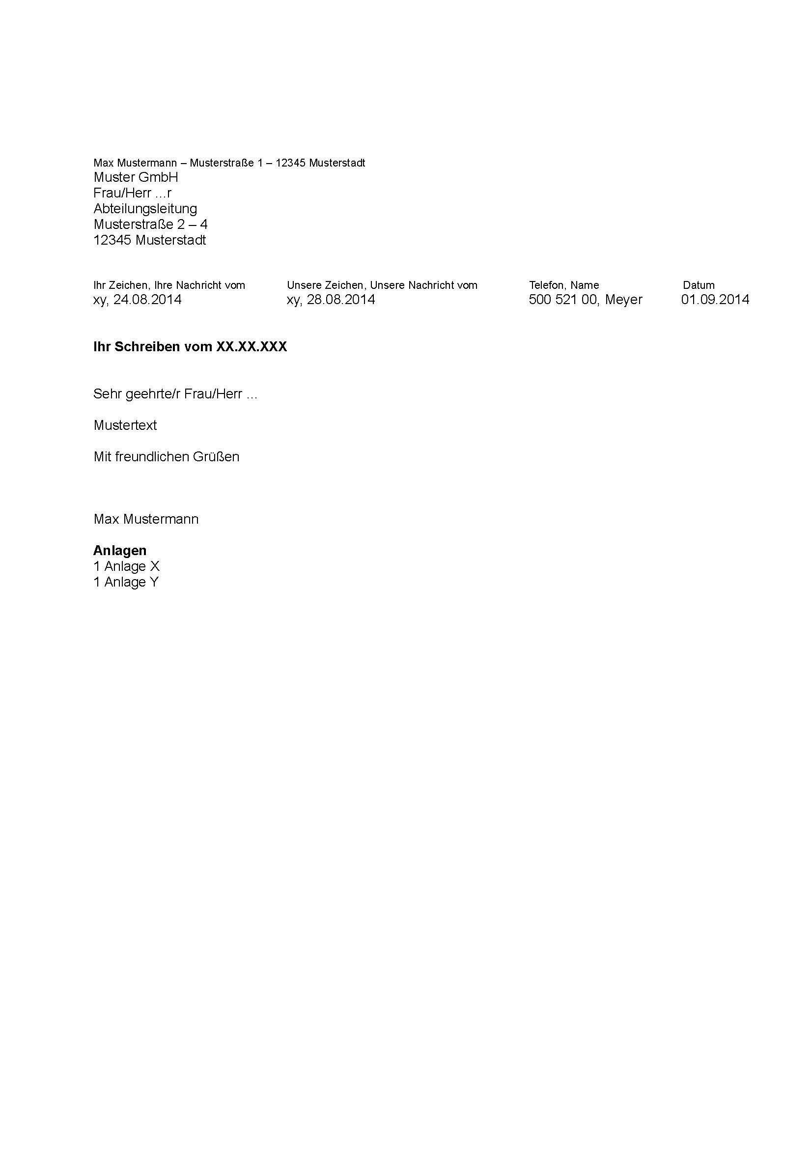 Din 5008 Musterbrief Vorlage Pdf Word Download